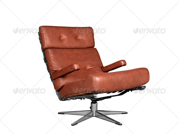 Isolated soft brown leather stylish chair - Stock Photo - Images