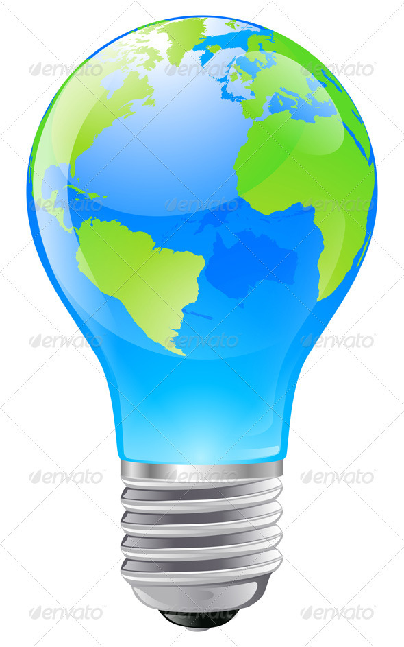 World globe light bulb concept - Conceptual Vectors