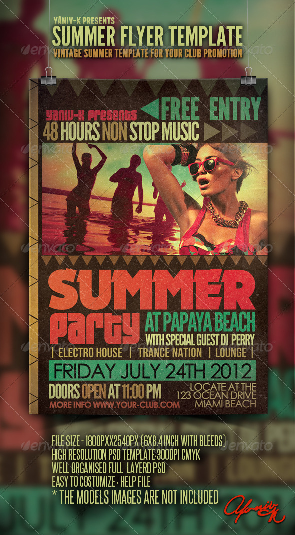 Vintage Summer Flyer Template By Yaniv-K | Graphicriver
