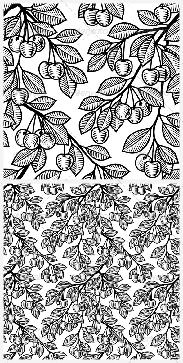 Seamless Cherry Background Black And White - Flowers & Plants Nature