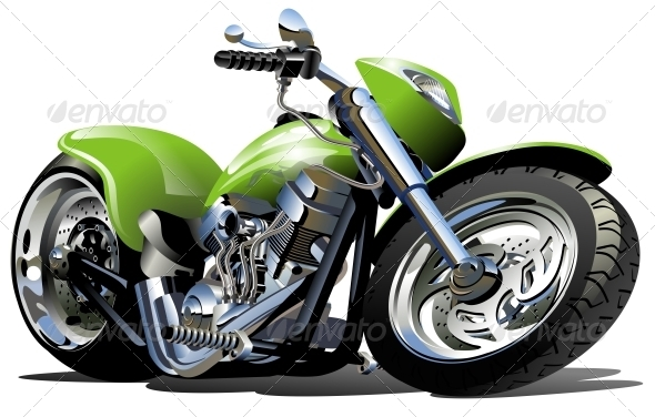 Vector Cartoon Motorcycle - Man-made Objects Objects