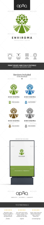 Tree Field Landscape Logo