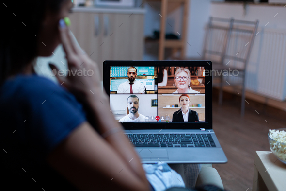 Freelancer having video conference with team - Stock Photo - Images