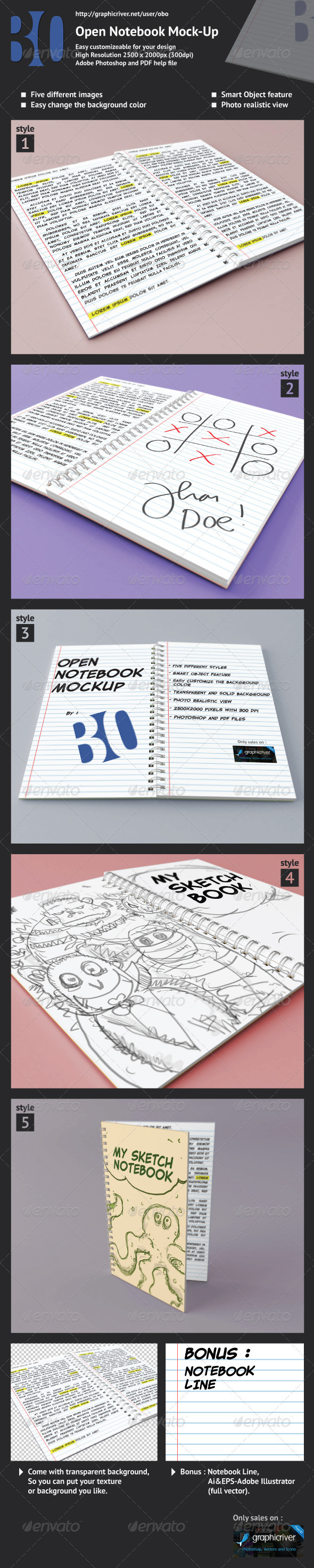 Open Notebook Mock-up - Books Print