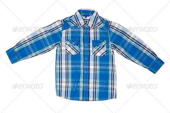 he blue checkered shirt - Stock Photo - Images