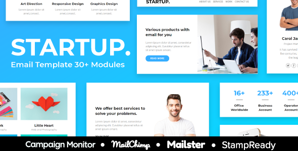 Start up – 30+ Modules Responsive Email Template + Mailchimp Editor + Campaign Monitor & Mailster