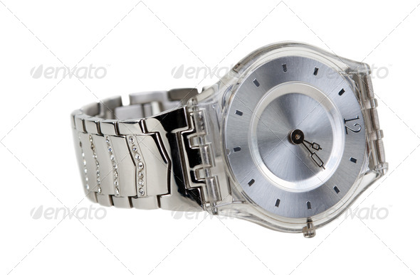 watch with a steel bracelet - Stock Photo - Images
