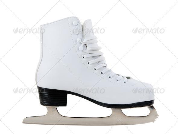 White skates for figure skating - Stock Photo - Images
