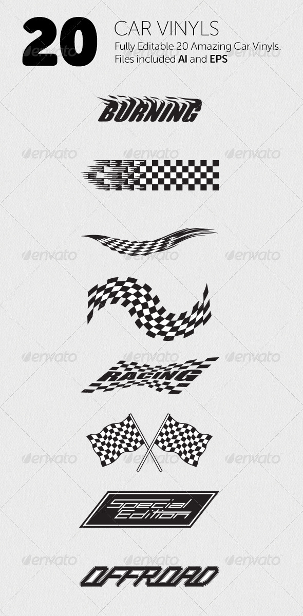 20 Car Vinyls - Decorative Symbols Decorative