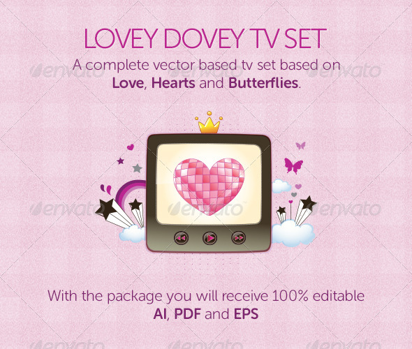Lovey Dovey TV Set - Man-made Objects Objects
