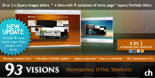 Free Download 93VISIONS - 4 in 1 Modern & Professional HTML Template Nulled Latest Version