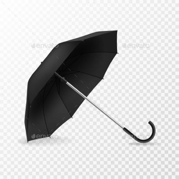 Realistic Open Umbrella. Side View Blank Object