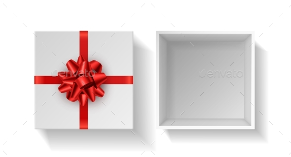 Present Box with Red Bow. Top View Gift White Open