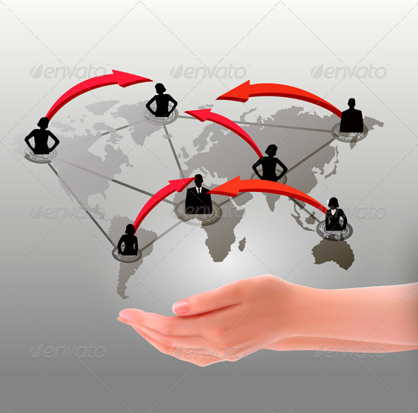 Hands holding social network. Vector illustration  - Communications Technology