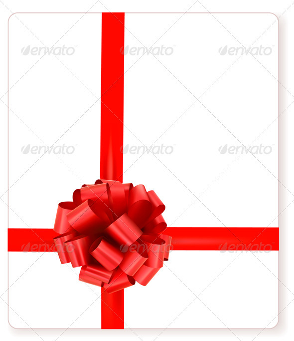 Card with red gift bow with ribbons - Christmas Seasons/Holidays