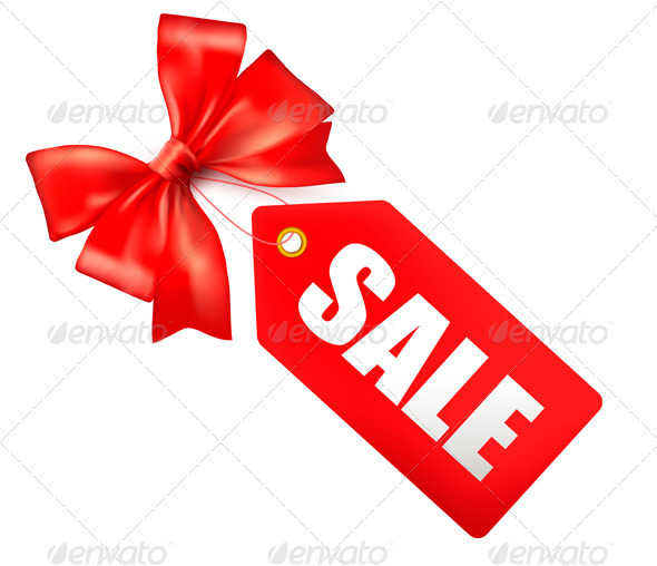 Sales tag with red gift bow.  Vector illustration  - Decorative Symbols Decorative