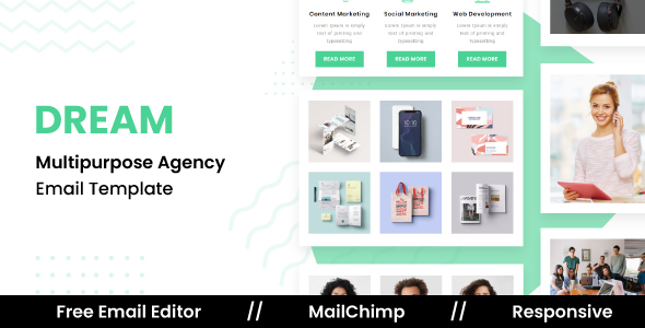 DREAM – Responsive Email Template For Agency With Free Email Editor
