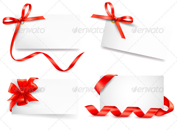 Set of card note with red gift bows with ribbons - Christmas Seasons/Holidays