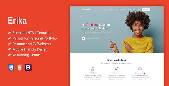 Erika – HTML Template For Online Portfolio, CV And Resume Websites