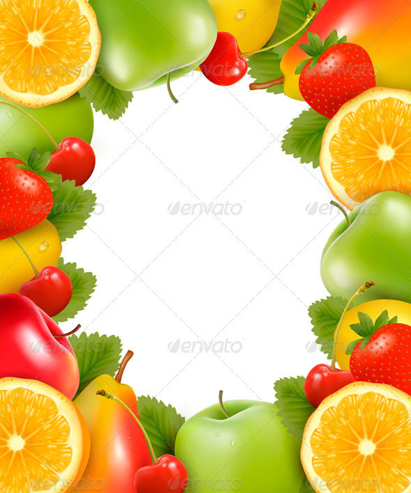 Frame made of fresh juicy fruit. Vector. - Food Objects