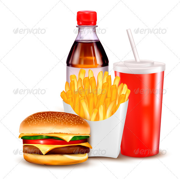 Hamburger and a bottle and drink  - Food Objects