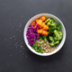 Vegetarian quinoa and broccoli lunch Buddha bowl with baked butternut squash or pumpkin, green peas - PhotoDune Item for Sale