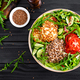 Lunch bowl with buckwheat porridge, fried chicken cutlets and fresh vegetable salad - PhotoDune Item for Sale