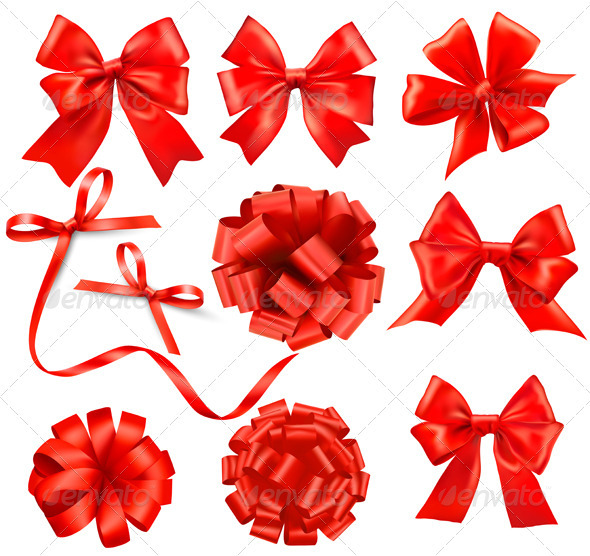 Big collection of color gift bows with ribbons  - Christmas Seasons/Holidays