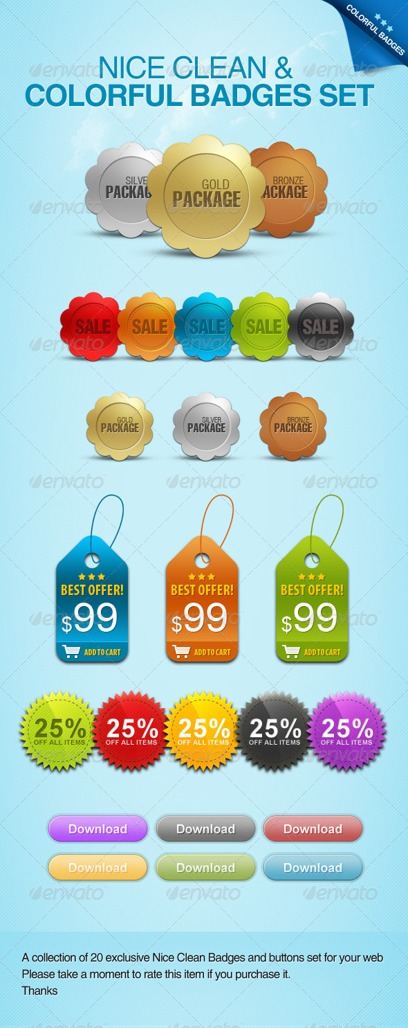 Nice Clean &  Colorful Badges Set - Buttons Web Elements
