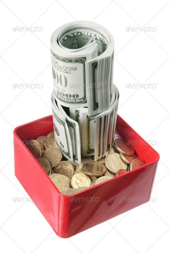 Dollar Notes and Coins in Box - Stock Photo - Images