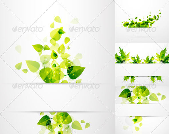 Vector Green Leaves Nature Banners - Backgrounds Decorative