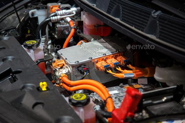 Drive unit of an electric car. Electric car motor. Electric car drive unit.