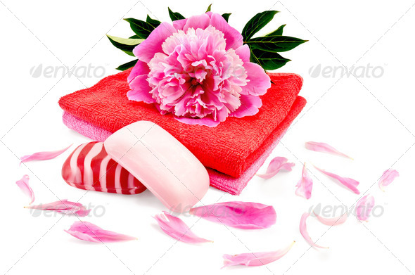 Soap with a towel and a pion - Stock Photo - Images