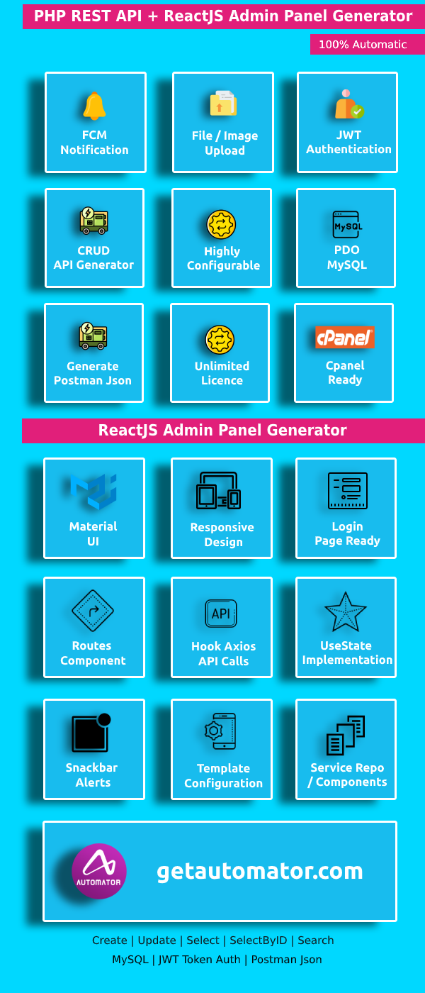 Easy ReactJS Application Generator + REST API Generator - PHP MySQL CRUD REST API With JWT Token