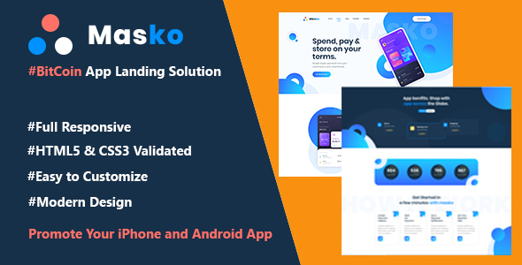Marvelous Masko-BitCoin & Cryptocurrency App Landing Page HTML Template