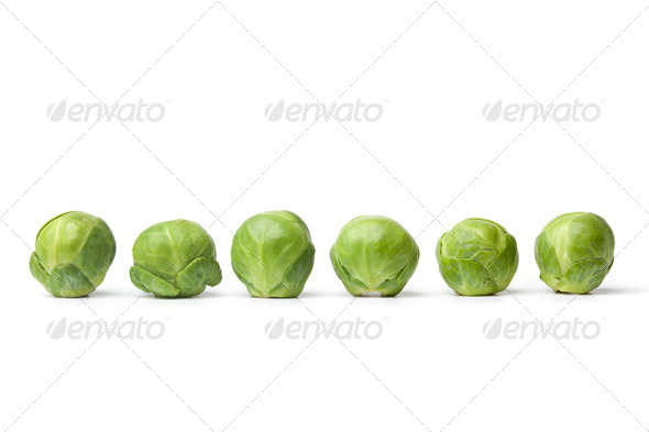 Row of fresh Brussel sprouts - Stock Photo - Images