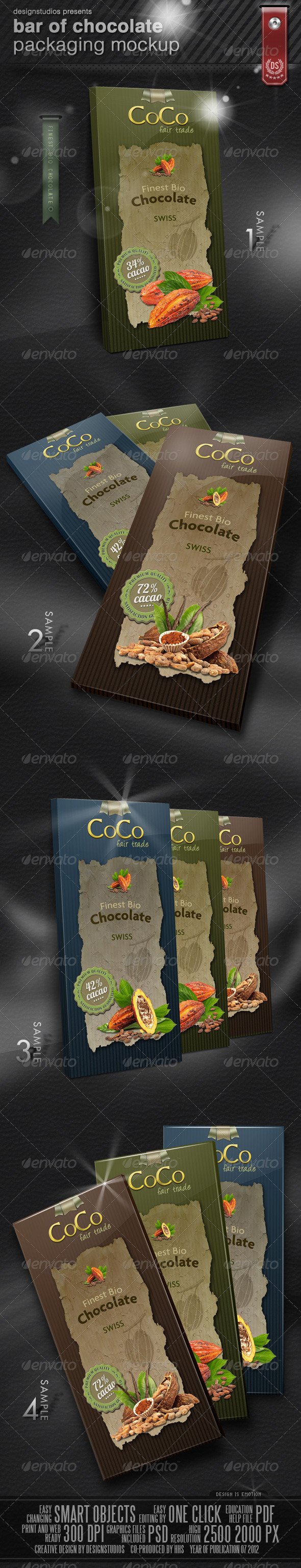 Bar Of Chocolate Packaging Mock-Up - Food and Drink Packaging