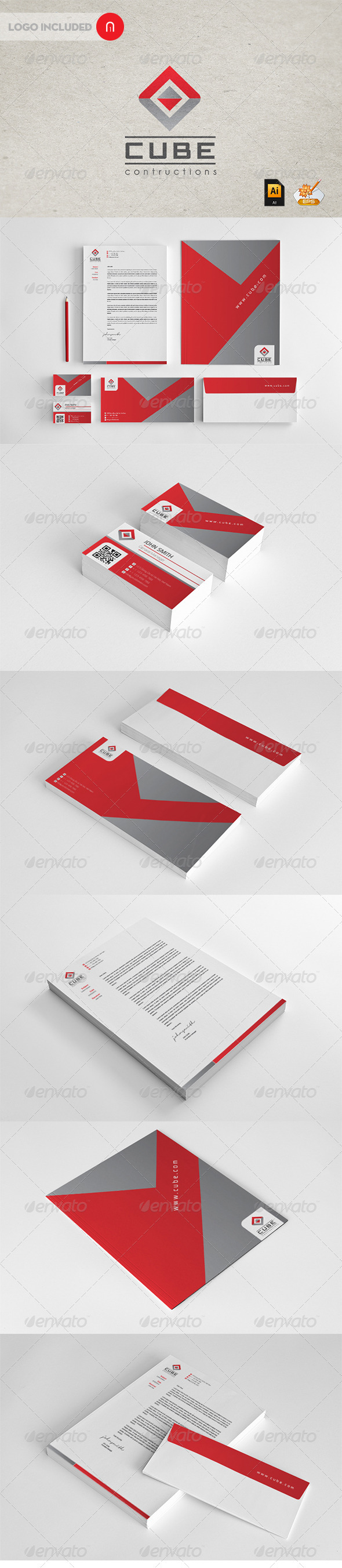 Stationary & Identity - Cube contructions - Stationery Print Templates