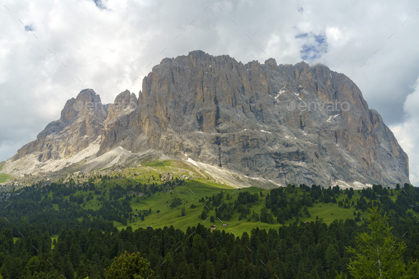 Mountain landscape along the road to Sella pass, Dolomites - Stock Photo - Images