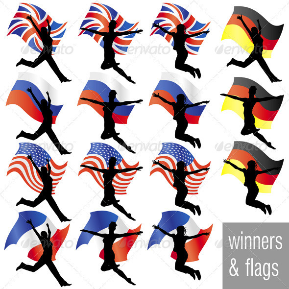 Athletes With Flags Set - Sports/Activity Conceptual