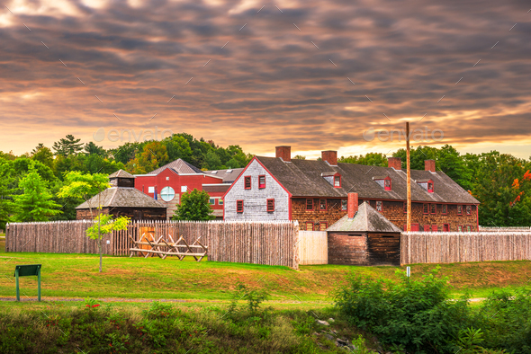 Augusta, Maine, USA at historic Fort Western - Stock Photo - Images