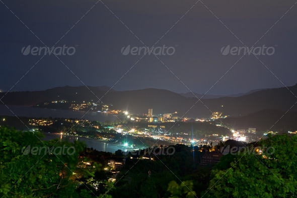 night view from the viewpoint of Phuket - Stock Photo - Images