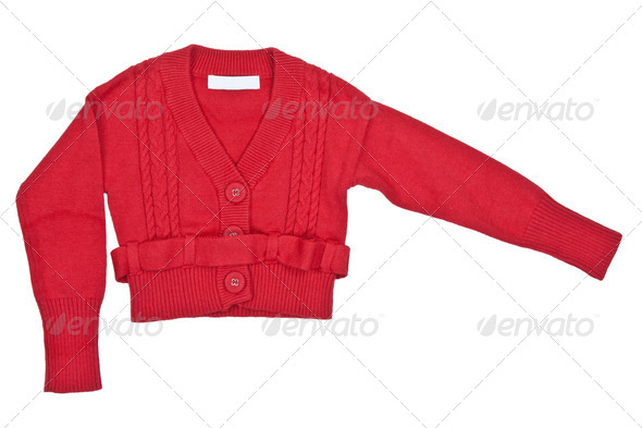 red sweater with a belt - Stock Photo - Images