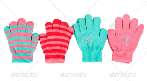 Striped baby gloves - Stock Photo - Images