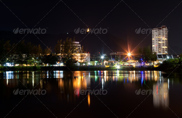 view the city at night - Stock Photo - Images
