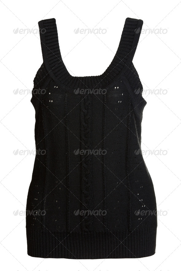 black knitted vest - Stock Photo - Images