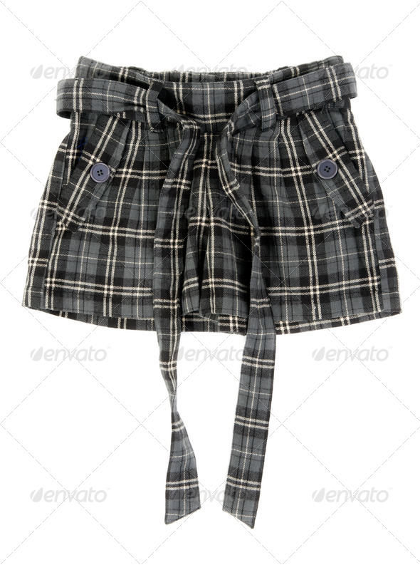 Grey plaid skirt - Stock Photo - Images