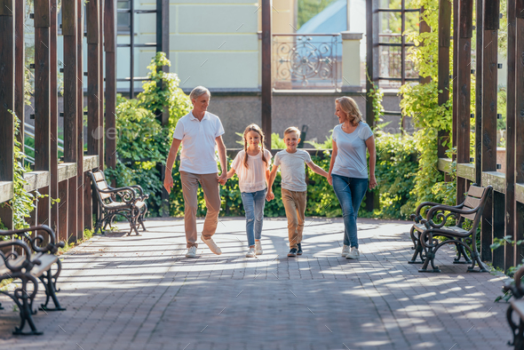 grandchildren holding hands with grandparents while walking together on street - Stock Photo - Images