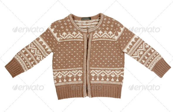 Brown knitted sweater with a pattern - Stock Photo - Images