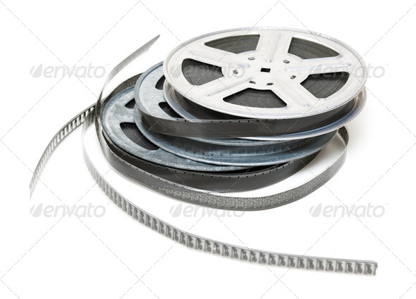 Aluminium reel of film - Stock Photo - Images